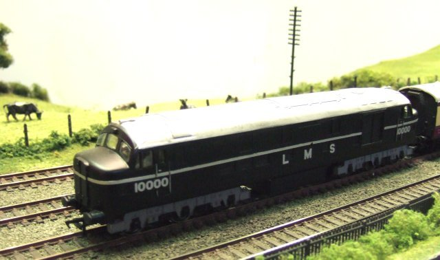 Alan Postlethwaite's beautiful 4mm scale model of LMS diesel electric 10000 can most often be seen on his Brockley Acres layout, next due to appear at Stonehouse on 21 March 2009.