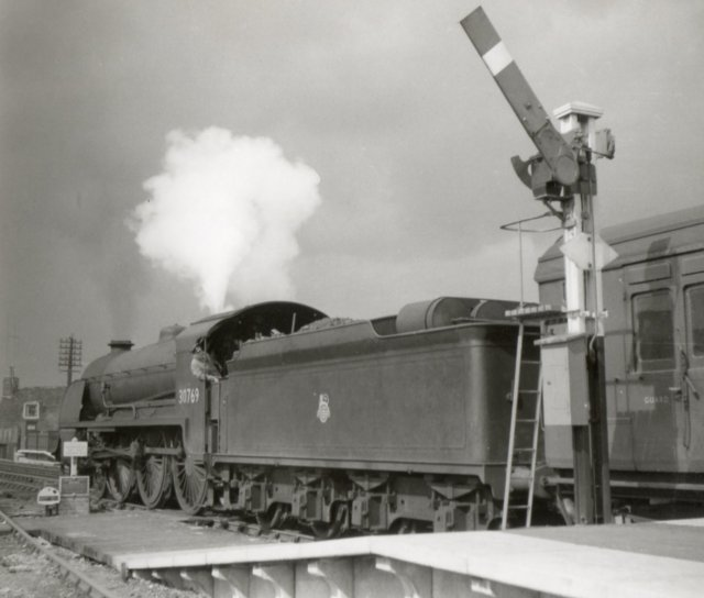 "30769 ""Sir Balan"" with a full head of steam on former London Chatham & Dover Railway metals in 1959."