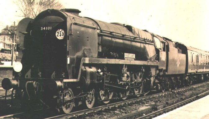 "Bulleid West Country Pacific 34101""Hartland"" - seen here at Basingstoke on a Waterloo to Bournemouth service on 13 March 1965 - had begun British Railways service with an air-smoothed casing and was allocated to 73A Stewarts Lane."