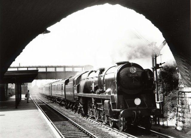 "On  Saturday 9 July 2011 over 400 people visited the one-day exhibition at Hucclecote Methodist Church, publicised with organiser Alan Postlethwaite's own image of Bulleid Merchant Navy Pacific  35026 ""Lamport & Holt Line"" stopping at Axminster on a Waterloo bound express in August 1959."