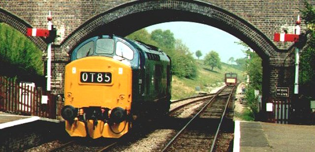 English Electric Class 37 Co-Co 37 215 runs round its train of empty coaching stock during a driving training course on the Gloucestershire and Warwickshire Railway at Toddington