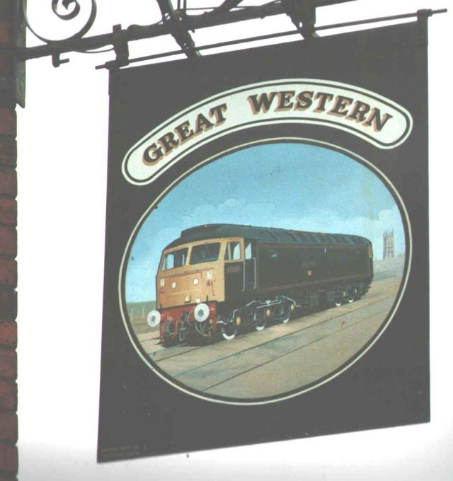 "47 500 ""Great Western"" on the public house sign in Alfred Street, Gloucester"