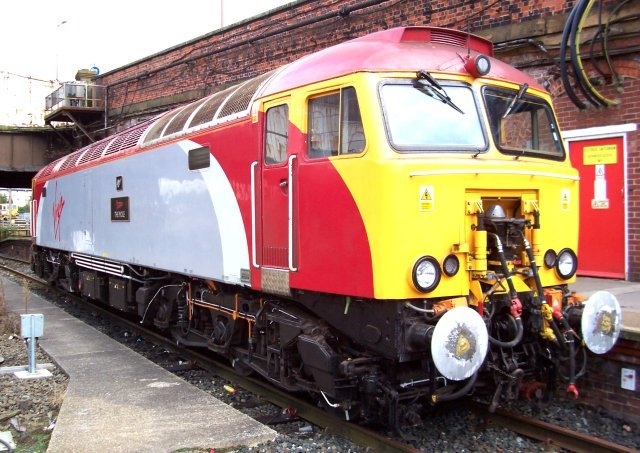 "57 315 ""The Mole"" was parked at the northern end of Preston station, ready to assist any failed Pendolinos"