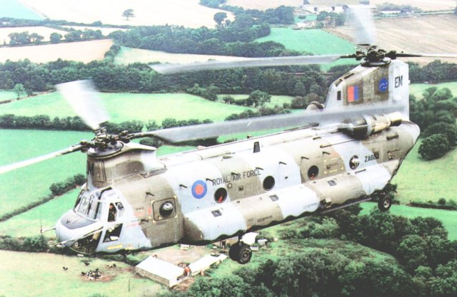 Boeing Vertol CH-47 Chinook ZA682 of 7 Squadron RAF similar to the one that visited Upton St Leonards