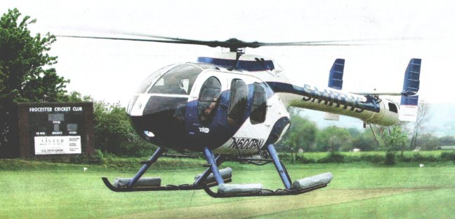 Two interesting features of the helicopter that rescued the cricket match were the American registration - N600RN - and that it uses jet efflux rather than a rotating tail rotor.