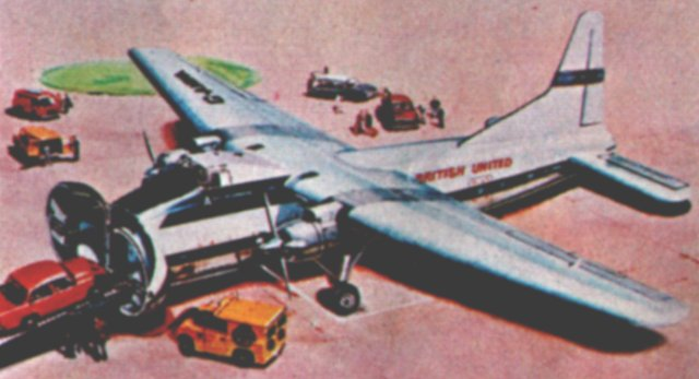 By the 1970s, the Airfix kit of the Bristol Type 170 Mark 32 Superfreighter was being offered in British United Air Ferries livery. Compared with the earlier Silver City markings, most of the aircraft is now white rather than silver.
