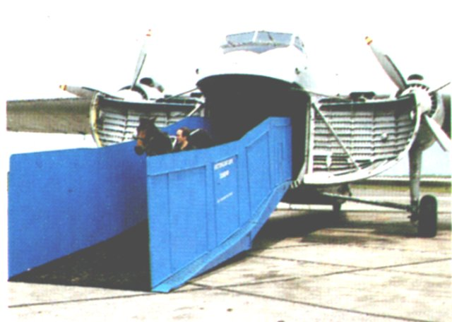 The custom made horse loading ramp fitted to Bristol Type 170 Mark 31 G-BISU by Instone