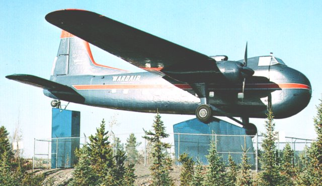 Delivered to Trans Canada Air Lines on 30 September 1953,Bristol Type 170 Mark 31 CF-TFX ( Works number 13137 ) was plinthed at Yellowknife in Canada on 22 June 1968 after the main spar expired. Note the way that the red element of the Wardair livery has been applied to the leading edge of the strengthened tail fin.