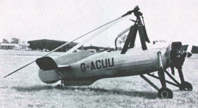 "Unlike the helicopter, which ""screws"" itself into the air, the rotor blades of the autogiro are not powered, except for starting. They rotate by air movement and thus the aircraft can ""jump"" but cannot hover. Nevertheless, it is extemely manoeuvrable and can take off and land in very limited spaces. Control is from the rear cockpit position and is exercised by tilting the axis of the rotors relative to the body of the autogiro."