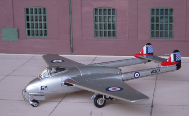 Although De Havilland Vampires have appeared in Gloucestershire Transport History articles in Swedish and Rhodesian markings, the Corgi die cast ( AA37301 ) representation of Vampire FB Mk 5 WG833 not only represents a typical Royal Auxilliary Air Force machine but has a wider significance as the mount of its pilot, Wing Commander E.G. L. Millington.