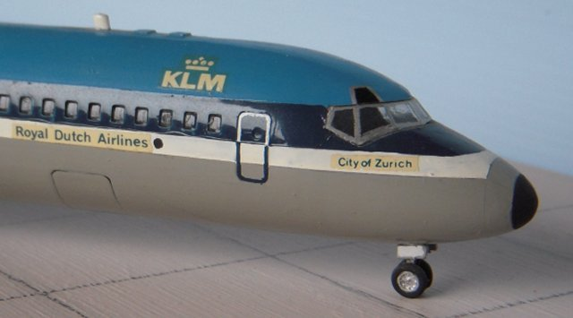 "KLM's first flight was to London on 17 May 1920 with Jerry Shaw piloting a De Havilland DH 16 - making this international air link the oldest in the World - while the first intercontinental KLM flight to Batavia ( now Jakarta ) was made by a Fokker F-VII on 1 October 1924. A Fokker XVIII named ""Snip"" made the first KLM Transatlantic crossing from Amsterdam to Curacao in December 1934 and the first KLM jet airliner was a Douglas DC-8 introduced in March 1960."