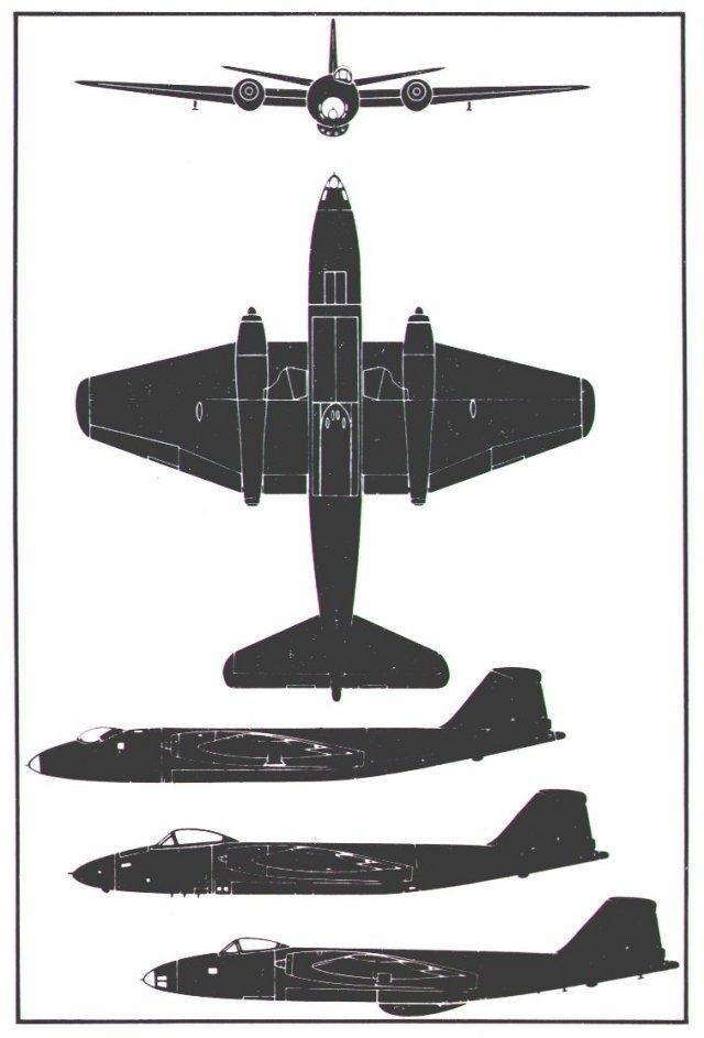 The English Electric Canberra evolved from the B6 ( top side view ) to the offset fighter type canopy used on the B (I) 8 ( plan and front view ) and PR9 (lower two side views )