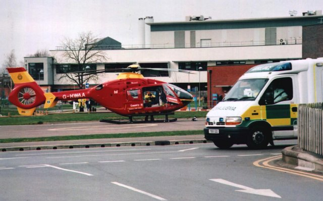 Now safely landed, Kim Hibberd was able to capture G-HWAA next to a more traditional ambulance