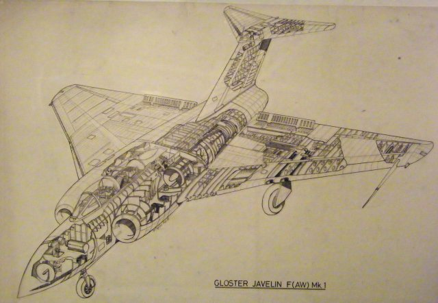 For splendid monochrome and colour transport art - including this splendid cutaway drawing of a Gloster Javelin F (AW) Mark 1 - why not visit the website of Stuart Taylor ?