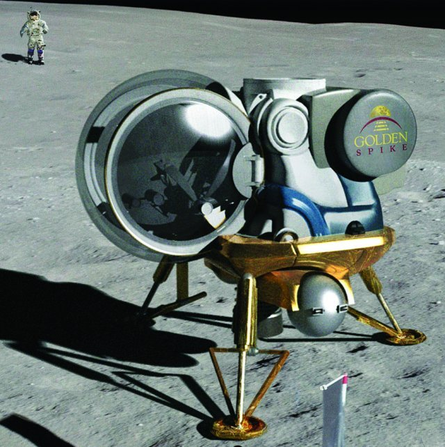This minimalist design philosophy thus makes an interesting comparison with the two-person lander proposed by the American Golden Spike Company in 2012 and designed by Northrop Grumman which has an offset transparent ball-type crew compartment and four landing legs.