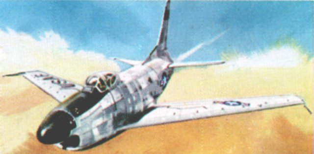 On 15 September 1948, thirteen months after the record flight of the D-558-1 Skystreak, Major Richard L. Johnston of the United States Air Force flew a North American F-86 Sabre at a speed of almost 671 mph while on 16 July 1953 Lt Col William J. Barnes, USAF, took the later D model Sabre ( with air interception rader in a bullet fairing in the nose ) to 715.75 mph. Like the the Messerschmitt 262, the single engined Sabre had swept wings set low on its fuselage - a design format that was to unite many of the World Air Speed Record Holders of the early 1950s.