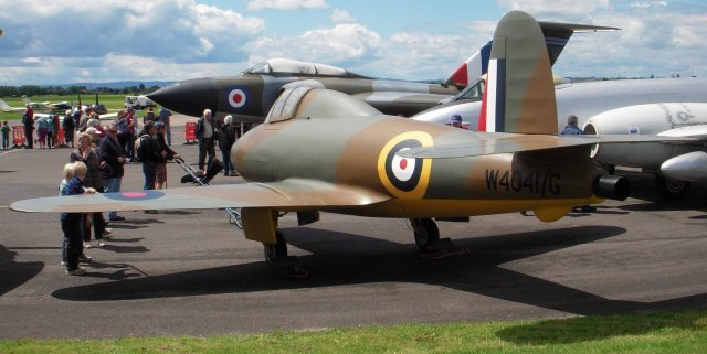 Also attracting the crowds were the Jet Age Museum's Gloster Javelin 9 XH903, Gloster Meteor Mark 8 WH364 and replicas Gloster-Whittle E28/39 W4041 and Hawker Hurricane V6799, as discussed in coverage of previous Museum events at Staverton.