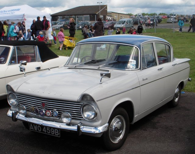Finally, some of the British classic cars on show included 1958 Austin A35 WDF 130 and  Hillman Super Minx AWO 459B.  Costing � 583 new, the A35 (A2S5) had a four cylinder four stroke overhead valve inline 948cc water cooled engine and, aptly enough for an airport open day, Lockheed hydraulic brakes.  Announced in October 1961, the Super Minx gave Rootes and particularly its Hillman marque an expanded presence in the upper reaches of the family car market. It has been suggested that the Super Minx design was originally intended to replace, and not merely to supplement, the standard Minx, but was found to be too big for that purpose. An estate car joined the range in May 1962, and a two-door convertible in June 1962. However, the convertible never sold in significant numbers with the last one being made in June 1964, ahead of the introduction, in September 1964, of the Super Minx Mark III.