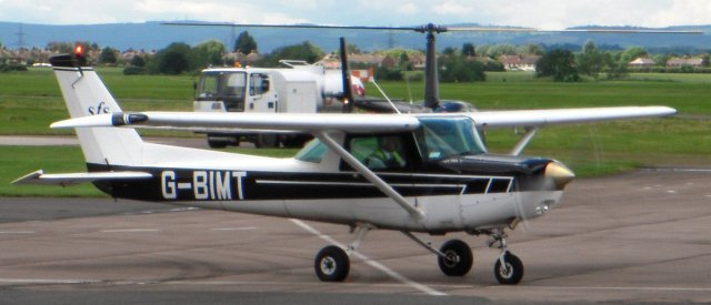 Another pre-1985 Cessna design was exemplified by 1980 vintage Reims FA152 Aerobat G-BIMT ( constructor's number 0361) operated by Staverton Flying School.