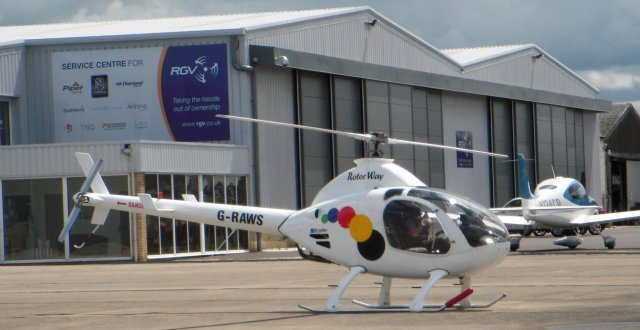 Helicopters make up a significant amount of Gloucestershire Airport's movements and G-RAWS was a two seat  kit-built Rotorway Executive 162F (constructor's number 6492) owned by Raw Sports Ltd.