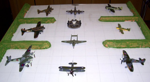 My Brockworth tribute to the Skyfame Aircraft Museum on the Square Airfield diorama featured, clockwise from bottom left, De Havilland Mosquito, Avro Anson, Airspeed Oxford, Gloster Meteor F8, Fairey Firefly, Miles Magister, Hawker Tempest and Gloster Gladiator. In the centre are a De Havilland Vampire and the NRDC SRN1 hovercraft.