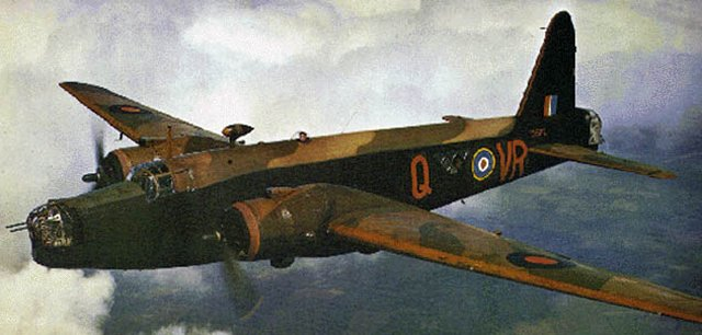 The Vickers Wellington was the most important British bomber of the initial war period and a total of 11 461 of all variants were built - more than any other British bomber design.  It was also the only British bomber type to be in production for the whole of World War II.