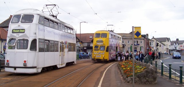 "Captured at Cleveleys on Saturday 1 September 2007, Blackpool ""Balloon"" double deck trams 701 and 713 were built by English Electric in 1934 -1935 with Westinghouse brakes and pairs of EE306 40kW motors."