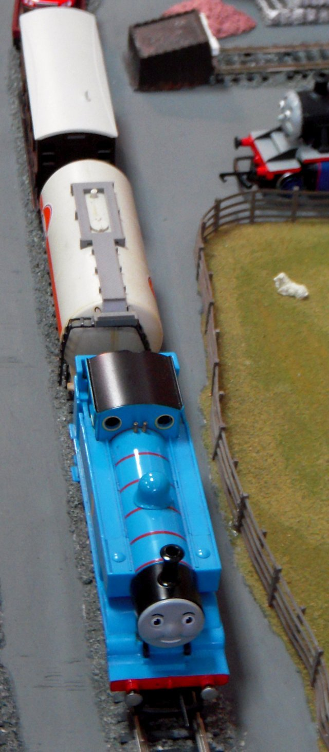 Thomas himself was in fine form in October 2011, hauling a mixed train with a Fina petrol tanker just behind his bunker.
