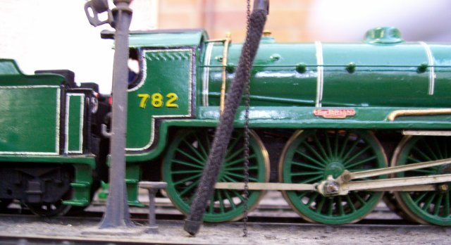 """Scotch Arthur"" 782 ""Sir Brian"" was just one of the locomotives on East Grinstead Model Railway Club's 00 gauge 4mm scale East Bridge Motive Power Depot at the April 2008 Cheltenham GWR Modeller's Exhibition."