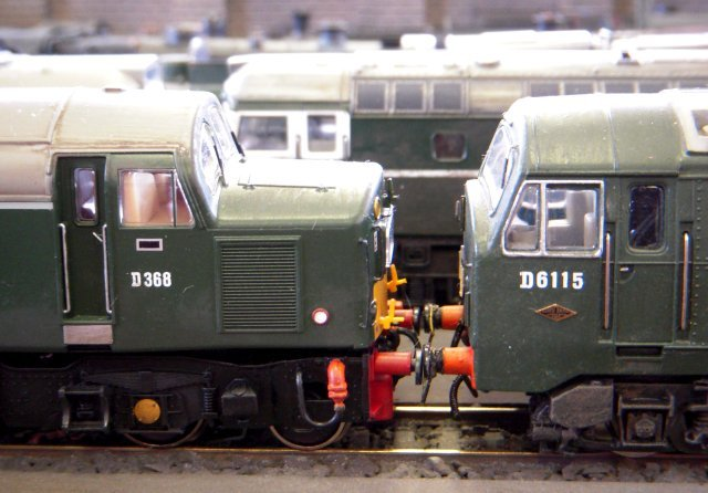 Offering a contrast to the pre-Grouping steam, three different approaches to diesel electric traction line up on Moreton New Shed with Birmingham RCW Type 2 D5356 standing behind English Electric Type 4 D368 and North British Type 2 D6115.