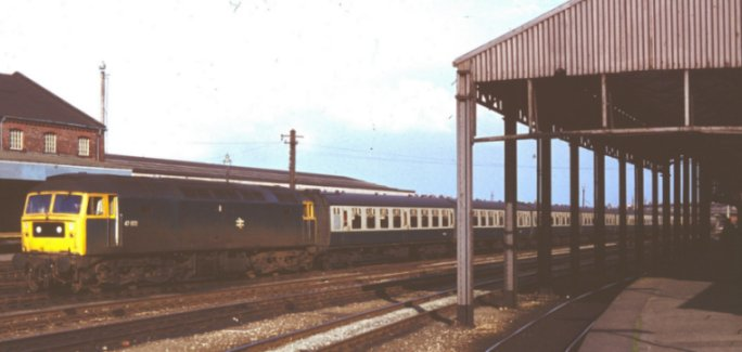 Brush Type 4 Co-Co 47 002 waits at Chester with excursion stock from Gloucester and Cheltenham on 12 May 1979