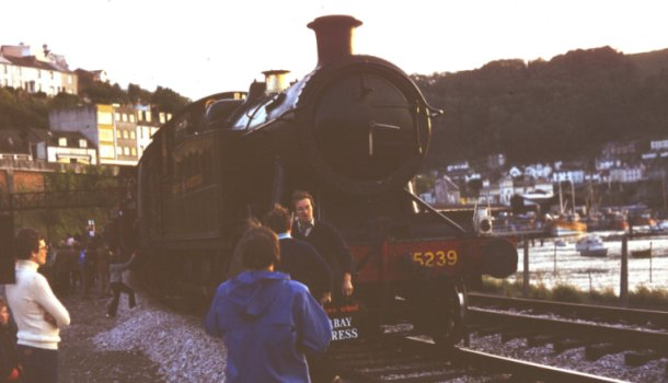 As the sun sets slowly on the other side of ex GWR 2-8-0 5239 at Kingswear, the Churchdown School Torbay Express headboard - made by my father George Drewett - is positioned ready for the run back to Paignton.