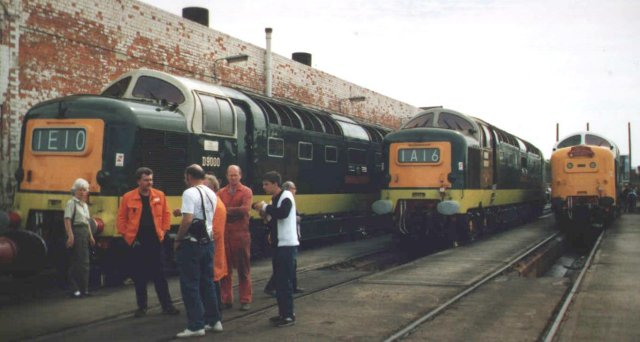 "English Electric ""Deltic"" D9000 ""Royal Scots Grey"" joins two other Class 55 Co-Cos at Horton Road"
