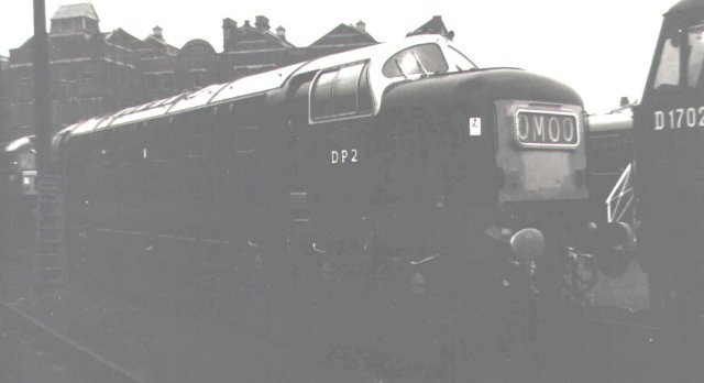 "DP2 was captured on an overcast day in 1965 at Marylebone by Andy Peckham. The 105 ton 2 700 bhp diesel electric was powered by an English Electric 16 cylinder 16CSVT prime mover, offering 50 000 of tractive effort through 3' 6"" diameter wheels. Following the Thirst accident of 31 July 1967 it was returned to its makers"