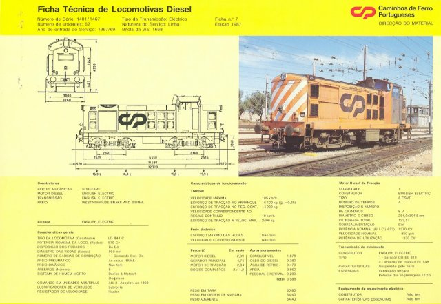 "A Caminhos de Ferro Portugeses (CP) technical document with the specifications for the 1668mm ( 5' 3"") gauge English Electric designed EE LD 844 C locomotives numbered 1401 to 1467 and introduced from 1967 to 1969. In fact only 1401-1410 were built at English Electric's Vulcan Works, the rest being assembled in Portugal. The EE LD 844 C Bo-Bos were fitted with eight cylinder Mark 2 8 CSVT prime movers rated at 1 370 bhp and Westinghouse air brakes."