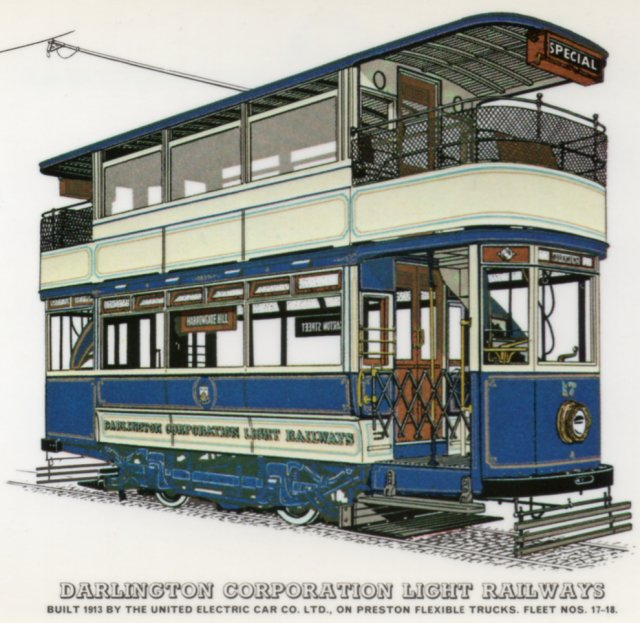 Among the products of The United Electric Car Company was Darlington Corporation Light Railways 17, built in 1913 and designed to run on a Preston Flexible Truck.