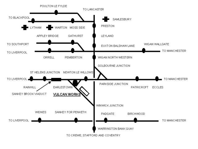 Schematic map showing the main locomotive ( Earlestown ) and aircraft ( Samlesbury, Warton and Lytham ) manufacturing premises of the English Electric Company as well as Warrington Bank Quay, home of the shipyard of the Vulcan Foundry.