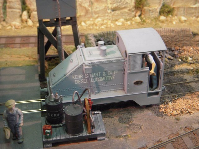 Locomotives and rolling stock were a mixture of scratch and kit built vehicles, some with modified proprietary components.  Pictured above for example, is a model of the Kerr Stuart diesel mechanical locomotive which ran on the Welsh Highland Railway and was photographed at Dinas in 1928 by L.T.C. Rolt, who was then one of Kerr Stuart's Premium Apprentices following in the footsteps of Supermarine Spitfire aircraft designer Reginald Mitchell.