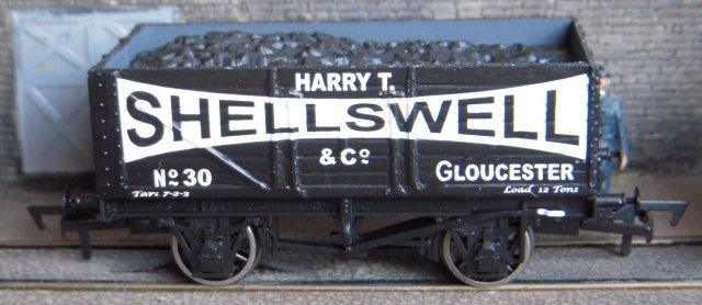 "Harry Talbot Shellswell was born in 1894 or 1895 and was by 1919 trading in coal as Harry T. Shellswell at 19 Bloomfield Road, Gloucester.  By 1927 Llanthony Wharf had been added to the address and ""& Co"" to the business title.  Apart from three wagons purchased new in 1924 and two second hand in 1927, the only other references to Shellswell's wagon fleet comes in the records of H.G. Lewis which show that Shellswell had three wagons on lease from him.  Similarly, the only record of Shellswell's trading so far known refers to occasional wagon loads from Highley Colliery near Kidderminster in Worcestershire."