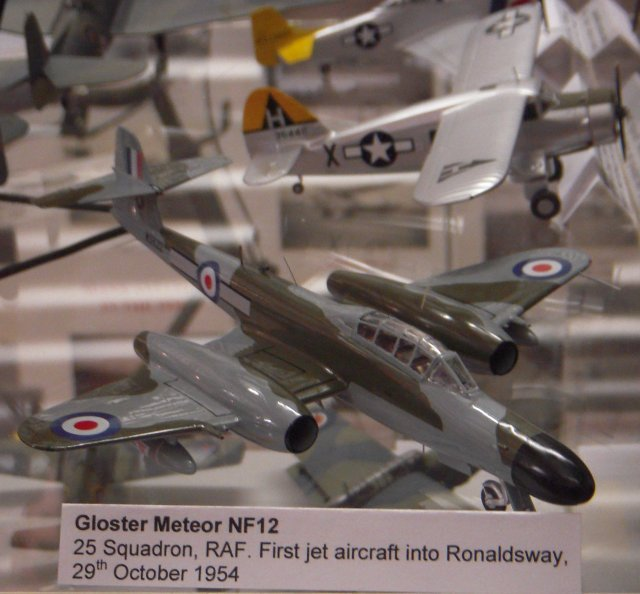 a 1/72 scale representation of WS622, the Armstrong Whitworth assembled Meteor Night Fighter 12 of 25 Squadron RAF which, on 29 October 1954, became the first jet aircraft to land at Ronaldsway.