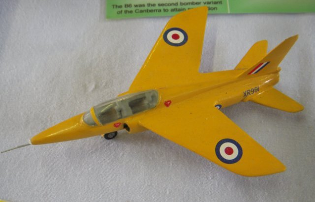 "The bright lemon yellow aeroplanes ( as represented by the above model of XR991 at the 2010 IPMS exhibition at Churchdown) complemented the red Jet Provosts well, and the Gnat soon started to earn a reputation for being a superb aerobatic mount. As a result of this the type was chosen as equipment for the 1965 RAF Aerobatic Team - the ""Red Arrows""."