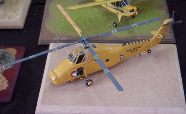 A Westland Wessex V from RAF Chivenor in Search and Rescue colours from 1980 ( above)  and a model of Westland Wessex V XV730 from the IPMS show at Churchdown in 2010, below.