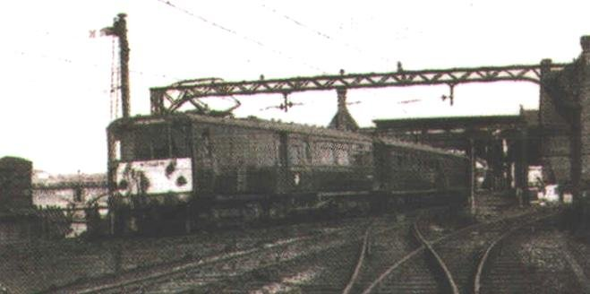EMU with diamond type pantograph leaving Green Ayre Station in 1965