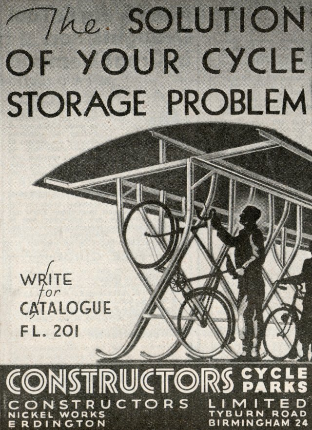 The bicycle shed was built from Wills kit SS23 an is in fact based on a design by Constructors Limited of Erdington, Birmingham, as seen in this 1945 advertisement from Flight magazine.