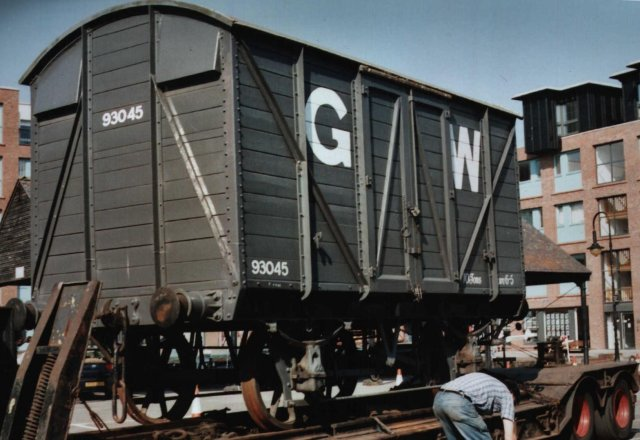 After a railway enthusiast had pictured 93045 on the National Waterways Museum's south west turntable one last time and Chris Perkins himself had said goodbye to his MINK, the Great Western Railway covered van was winched aboard a low loader trailer and a six wheeled ERF tractor unit of P.H. Antell and Sons attached to tow the 1913 vintage Swindon product away to a new life on the Severn Valley railway.  Life for railway enthusiasts in Gloucester also grew a little less abundant with its passing.