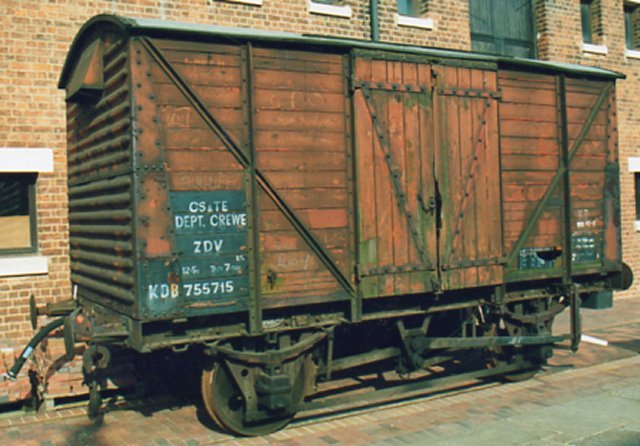 12 ton fruit van B755715 at the National Waterways Museum was built for British Railways in 1952 at Wolverton, the former carriage and wagon works of the London and North Western Railway.  It has a mixture of old and modern features.  The body sides and doors are made of planks, despite the contemporary trend toward the use of plywood due to post-war timber shortages.  its ends, though, are corrugated steel with downward-facing ventilators.