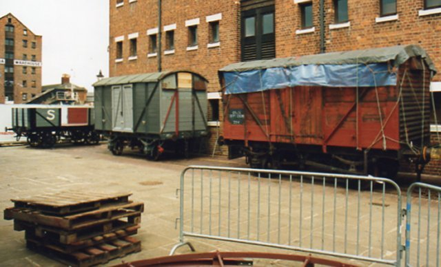 Following their appearances in previous RAILSPOTS, here is an April 1991 view of MINK 93045 ( left ) and fruit van B755715 at the National Waterways Museum.  Both are at various stages of restoration.