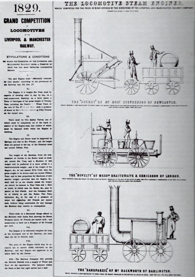 "Apart from John Brandreth's ""Cyclopede"" - powered by a horse on a treadmill - the steam locomotives ""Rocket"" - promoted by George and Robert Stephenson - William Braithwaite and John Ericsson's ""Novelty"", Timothy Hackworth's ""Sans Pareil"", and Timothy Burstall's late arriving ""Perserverance"" competing for the £ 500 prize all had to comply with Condition II which stated: The engine, if it weighs Six Tons, must be capable of drawing after it, day by day, on a well constructed Railway, on a level plane, a Train of Carriages of the gross weight of Twenty Tons, including the Tender and Water Tank, at a rate of Ten Miles per Hour, with a pressure of steam in the boiler not exceeding Fifty Pounds on the square inch."