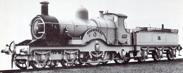 "Indeed, partly due to the development of steam powered sanding gear to increase adhesion, single driver locomotives outlived the Broad Gauge on the Great Western Railway.  The 3031 - or Achillies - Class 4-2-2s were designed by William Dean (Chief Mechanical Engineer of the GWR from 1877 to 1902) and built from 1894 to 1897, featuring 7' 81/2"" driving wheels, 19"" x 24"" cylinders and a tractive effort of 11 200 lb - almost twice that of the Bristol and Exeter 4-2-4T discussed above."