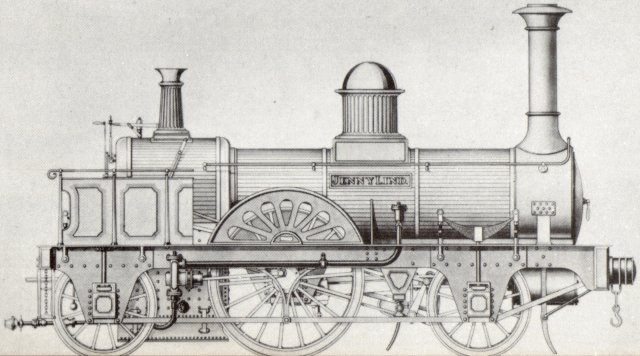"And talking of the London, Brighton and South Coast Railway, ""Jenny Lind"" - honouring the famous Swedish opera singer popular in England at the time - was the name given to the first of ten 2-2-2s built for the line by E.B. Wilson and Company of Leeds in 1847 which also became the basis for the first mass produced locomotive type."